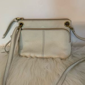 Fossil cream leather & brass crossbody small bag